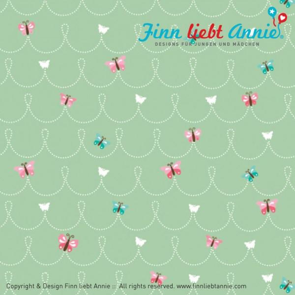 Finn liebt Annie Jersey Kinderstoff Schmetterlingsfreunde 0,5m x 155cm