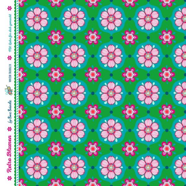 """Bine Brändle 100% Baumwolle """"Retro Blumen Gruen"""" 0,5m x 155cm"""