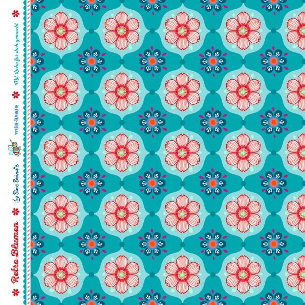 Bine Braendle Jersey Retro Blumen Tuerkis 0,5m x 155cm