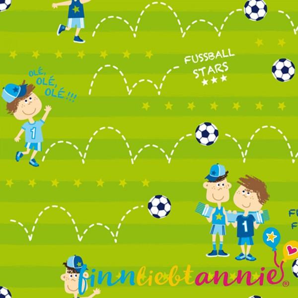 Finn liebt Annie Jersey Kinderstoff Fußballfreunde 0,5m x 155cm