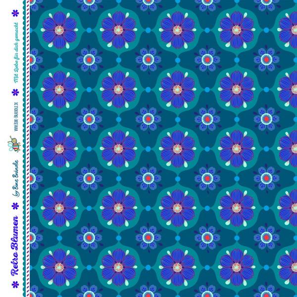 Bine Braendle Jersey Retro Blumen Blau 0,5m x 155cm
