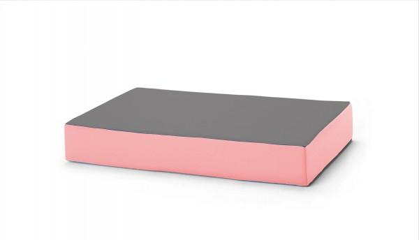 traturio Hüpfmatratze 130x90x25 cm mittelgrau/rosa