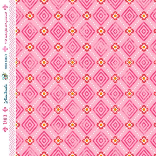 "Bine Brändle 100% Baumwolle ""Rauten Rosa"" 0,5m x 155cm"
