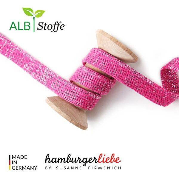 Hamburger Liebe Flachkordel Hoodiekordel Glow Cord me rosa-melange-glitzer