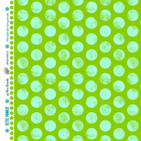 Bine Brändle 100% Baumwolle Fette Punkte Hellgrün 0,5m x 155cm