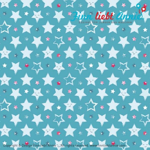Finn liebt Annie Jersey Kinderstoff Sternenglück 0,5m x 155 cm