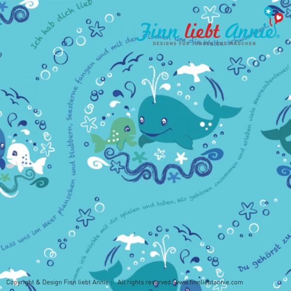Finn liebt Annie Jersey Kinderstoff Blubberwale 0,5m x 155 cm