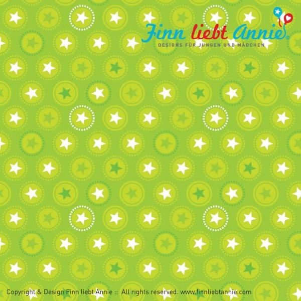 Finn liebt Annie Jersey Kinderstoff Jubelsterne grün 0,5m x 155cm