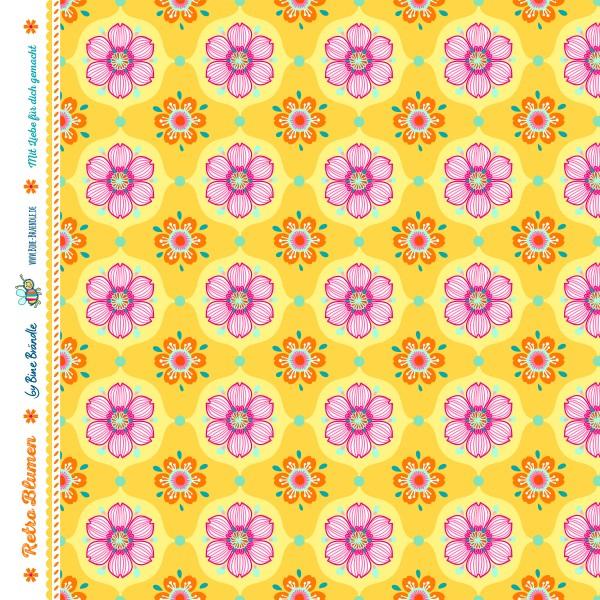 Bine Braendle Jersey Retro Blumen Gelb 0,5m x 155cm