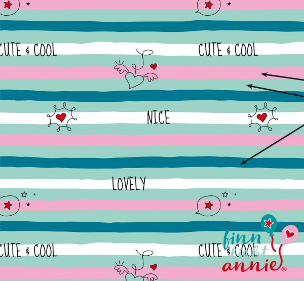 Finn liebt Annie Jersey Kinderstoff Lovely Stripes 0,5m x 155cm
