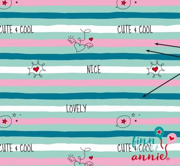 Finn liebt Annie Jersey Kinderstoff Lovely Stripes 0,5m x 155cm