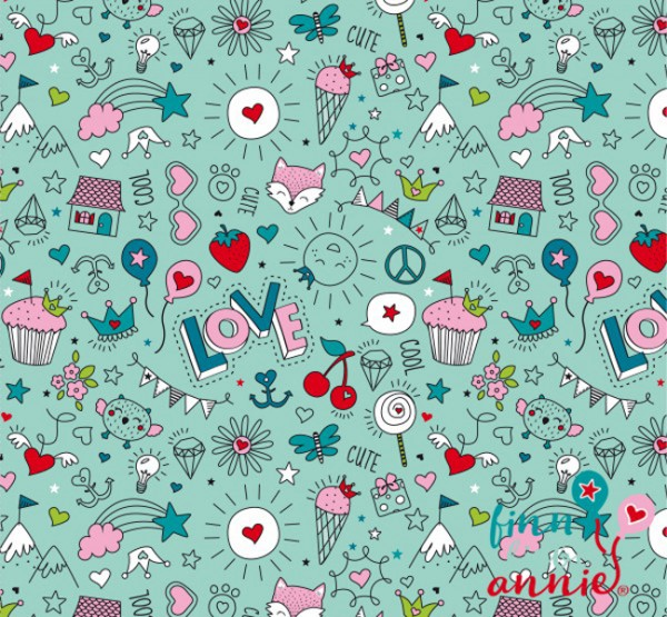 Finn liebt Annie Jersey Kinderstoff Cute & Cool Mint 0,5m x 155cm