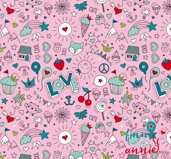 Finn liebt Annie 100% Baumwolle Kinderstoff Cute & Cool pink 0,5m x 150cm