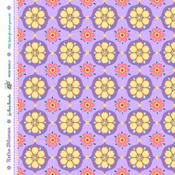 Bine Braendle Jersey Retro Blumen Lila 0,5m x 155cm