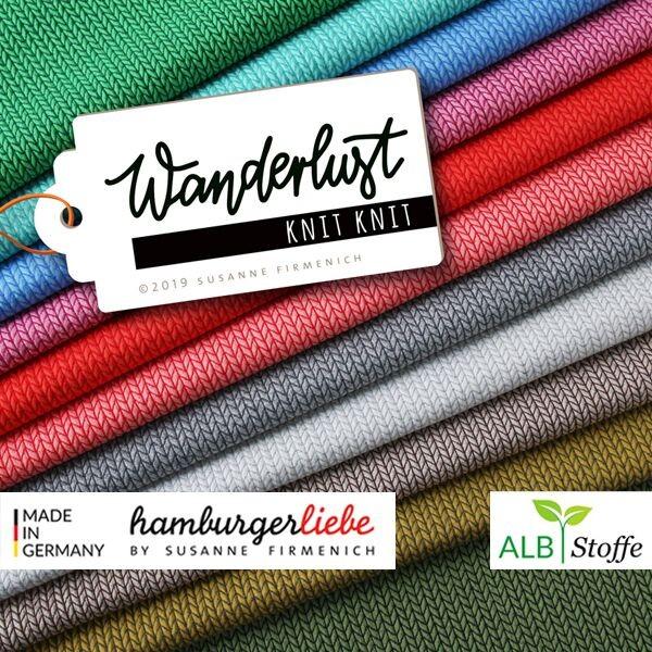 "Albstoffe Hamburger Liebe ""Knit Knit Wanderlust"" Bio-Jacquard-Jersey altrosa 0,5m x 135cm alle Farben"