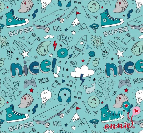 Finn liebt Annie 100% Baumwolle Kinderstoff Nice & Fresh 0,5m x 150cm