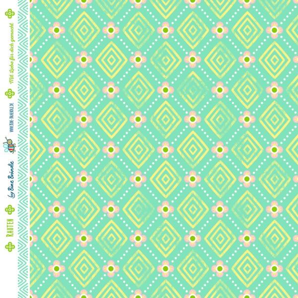 """Bine Brändle Bio Bubble Musselin """"Rauten mint"""" B-Ware 0,5m x 130cm"""