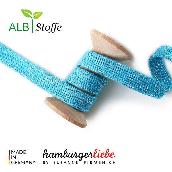"""Albstoffe Hamburger Liebe """"cord me Glow"""" Hoodiekordel Flachkordel türkis"""