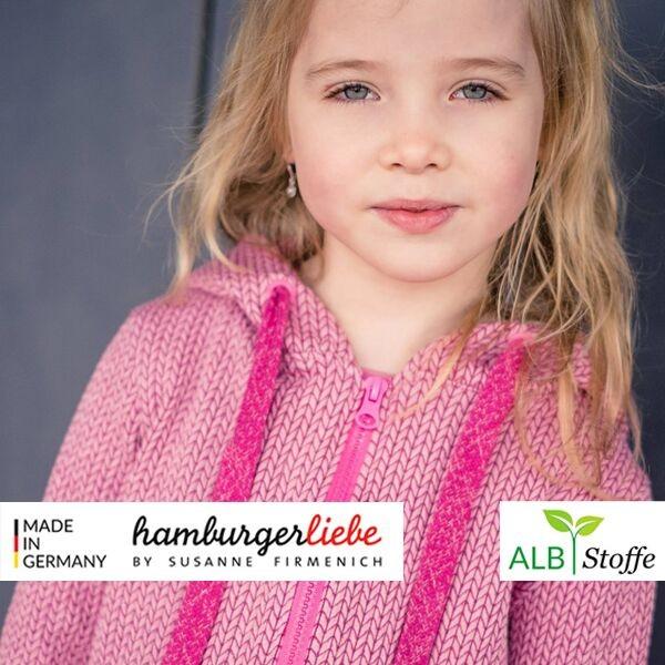 """Albstoffe Hamburger Liebe """"Knit Knit Wanderlust"""" Bio-Jacquard-Jersey altrosa 0,5m x 135cm Anwendungsbeispiel Nähbeispiel Hoodie Jacke"""