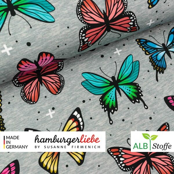 "Albstoffe Hamburger Liebe ""Butterfly Wanderlust"" Bio-Baumwolljersey grau 0,5m x 165cm"